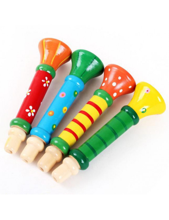 Mosunx Multi-Color Baby kids Wooden Horn Hooter Trumpet Instruments Music Toys