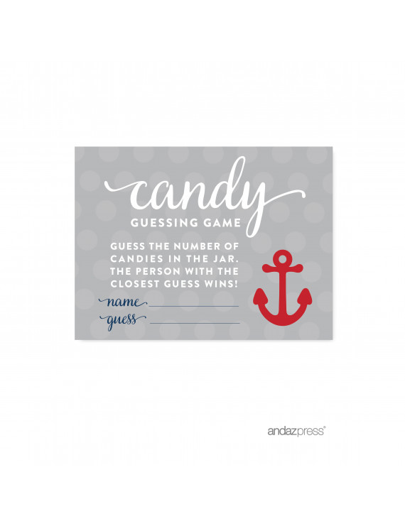Candy Guessing Game Navy Blue Nautical Baby Shower Game, 30-Pack