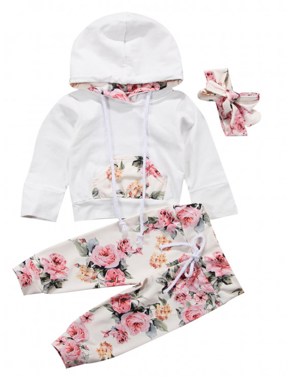 Bilo Store Infant Baby Girl Floral Pattern Long Sleeve Hoodie and Pants 3 pcs Cotton Outfit (80/6-12 Months, White+Headband)