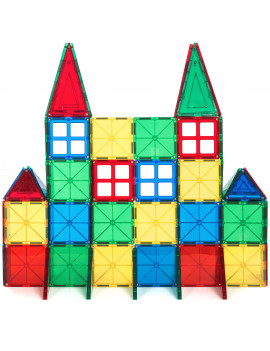 Best Choice Products 60-Piece Kids Mini Magnetic Tiles Educational STEM Toy Set w/ Carrying Case