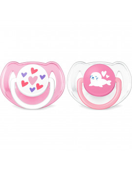 Philips Avent Classic Pacifier, 6-18 months, pink hearts and seal, 2 pack, SCF197/07