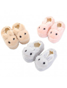 Autumn And Winter Kids Cute Cotton Slippers Children's Warm Non-slip Baby Cartoon Plush Rabbit Cotton Slippers 2-5Y