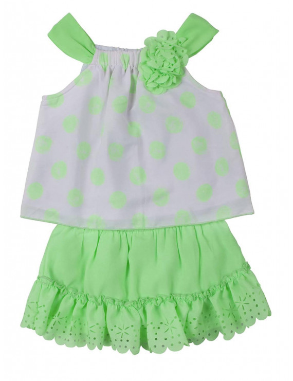 Little Lass Infant Girls Green White Polka Dot Top Scooter Outfit 2 PC Set