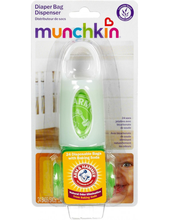 Munchkin Arm & Hammer Diaper Bag Dispenser with Bags, Lavender Scent, Colors May Vary 1 ea
