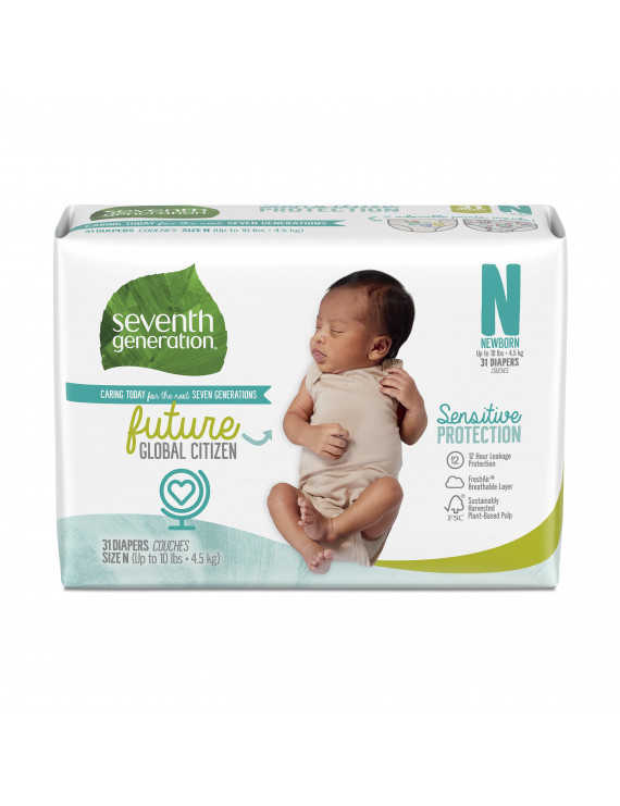 Seventh Generation Baby Diapers Sensitive Protection Free & Clear Size Newborn 31 count