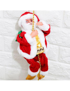 1PCS Super Climbing Santa Holiday Decor,Electric Climb Ladder Hanging Decoration Christmas Tree Decoration(with Music),Funny Doll Toys Gift for Kids Toddler Children