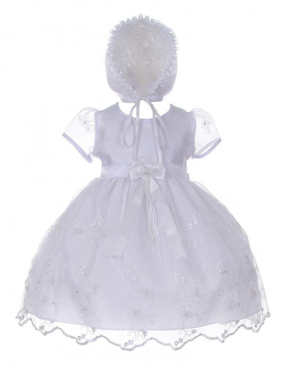 Cinderella Couture Baby Girls White Sequin 3D Flower Bonnet Baptism Dress
