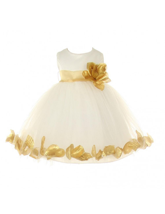 Baby Girls Ivory Gold Petal Adorned Satin Tulle Flower Girl Dress 6-24M