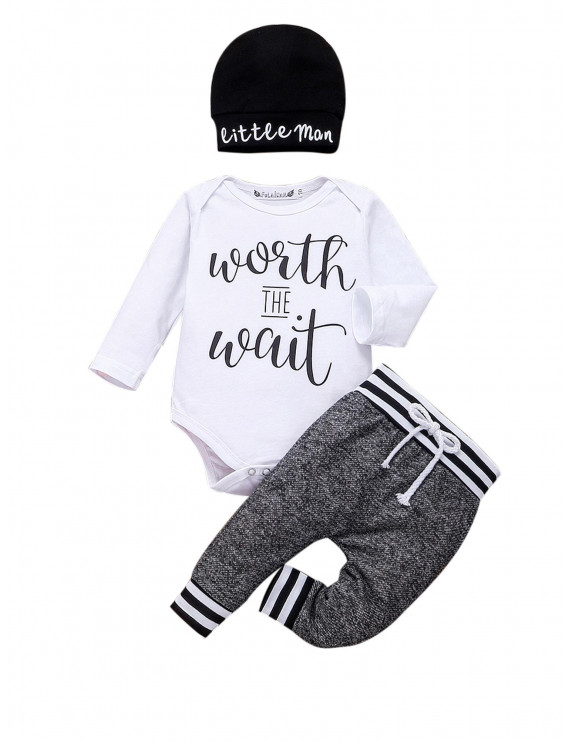 Newborn Infant Baby Boy Little Brother Long Sleeve Romper Pant Outfit Clothes