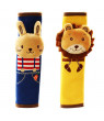 Juslike Cute Doll Car Seat Strap Belt Cushion Cover for Kids Children, Pad Vehicle Car Safety Belt Toy Pet Protect Shoulder Chest Child, Rabbit + Lion (2 Pack)