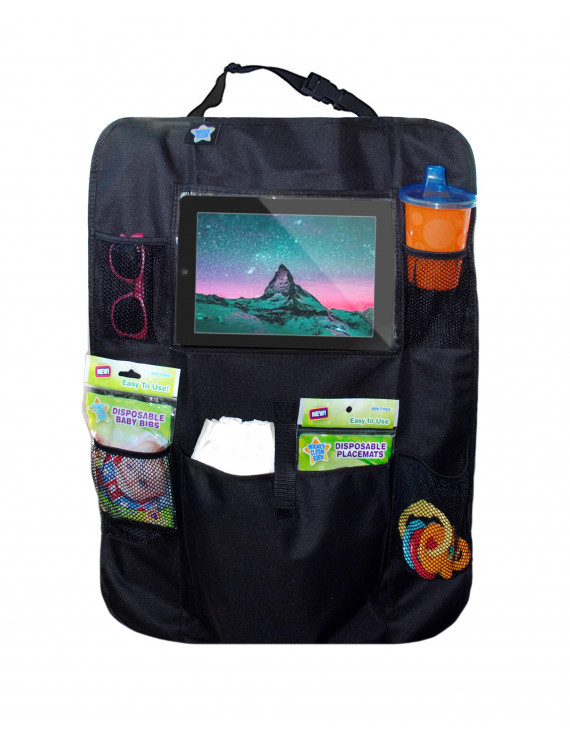 Mighty Clean Car Seat Back Protector - Kick Mat Storage and Organizer, Seat Protector for Baby, and iPad or Screen Viewer