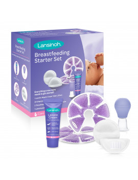 Lansinoh Breastfeeding Starter Set, Contains: 24 disposable Nursing Pads, 1 LatchAssist Nipple Everter, 2 TheraPearl Packs, 1 Lanolin Nipple Cream Tube 0.25 oz.