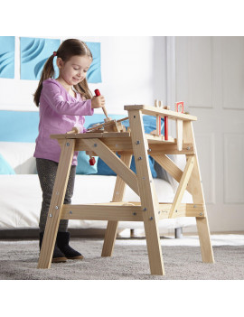 Melissa & Doug Wooden Project Solid Wood Workbench (Pretend Play, Sturdy Wooden Construction, Storage Shelf, 26? H × 18.75? W x 24? L)