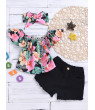 Toddler Baby Girl Summer Clothes Floral Top Denim Shorts Headband Outfit