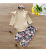 Newborn Baby Girls Floral Outfit Knitted Long Sleeve Solid Romper Bodysuit+Flowers Long Pants+Headband Clothes