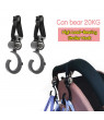 ODOMY 2PCS Stroller Portable Easy to Install Hook Storage Hook 16x5.5 cm