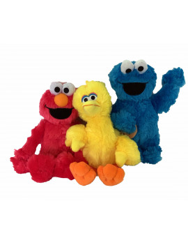 Sesame Street Classic 10 Inch Plush Toys Set of 3 Big Bird Cookie Monster Elmo