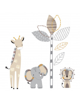 Lambs & Ivy Jungle Safari Gray/Tan Elephant/Giraffe Nursery Wall Decals/Stickers