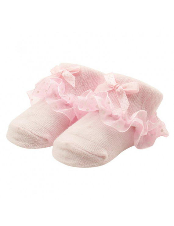 Fymall Baby Girl Pricess Socks Bow Lace Infant Frilly Cotton Short Socks