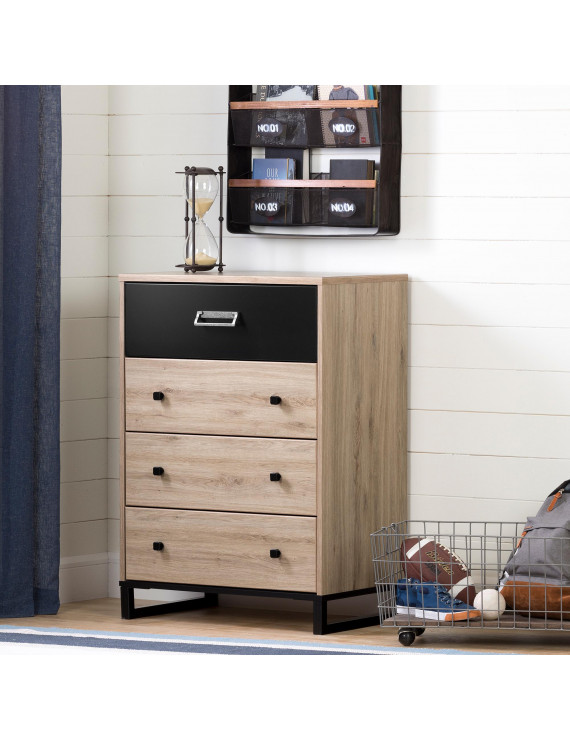 South Shore Induzy 4-Drawer Chest, Rustic Oak and Matte Black