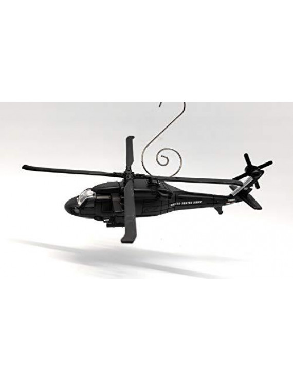 Sikorsky UH-60A Black Hawk Helicopter Aircraft Custom Christmas Ornament Black