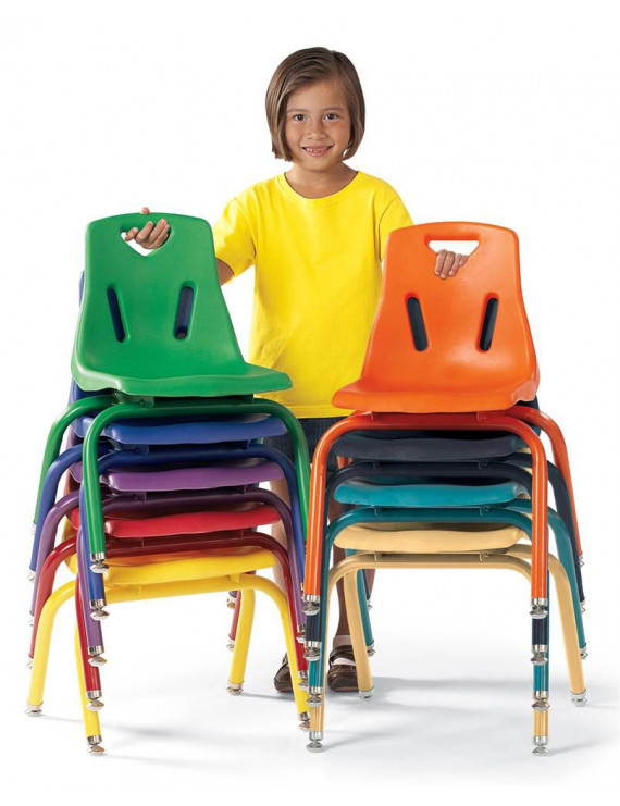 Stacking Chairs with Powder Coated Legs (14.5 in. L x 16 in. W x 18 in. H (24 lbs.)-Camel)