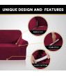 AUCHEN 1-Piece Jacquard Spandex Stretch Sofa Chair Couch Slipcover, Pure Small Checks Knitted Single Sofa Cover Furniture Protector for Single Sofa with Elastic Bottom for Kids, Pets (Chair, Red Wine)