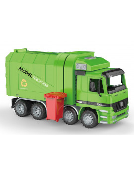 """14"""" Friction Powered Recycling Garbage Truck Toy  with Side Loading and Functioning Back Door"""