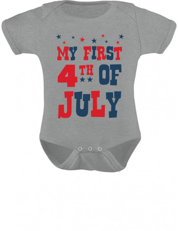 My First 4th of July Bodysuit Independence Day Gift USA Baby Bodysuit 12M Gray