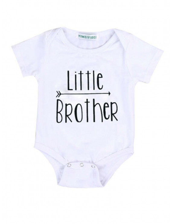 Dewadbow Little Brother Baby Boy Romper Bodysuit Big Brother T-shirt Tops Matching Outfit
