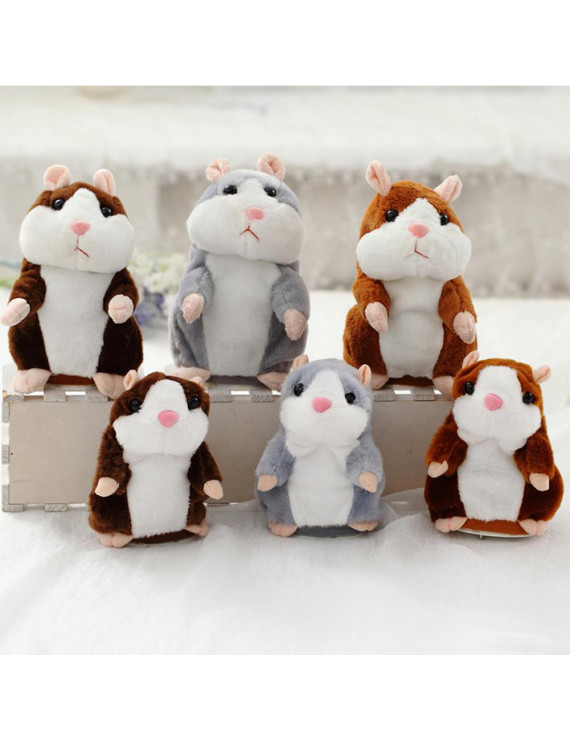 Lovely Talking Plush Hamster Toy, Can Change Voice, Record Sounds, Nod Head or Walk, Early Education for Baby, Different Size for Choice gray and nodding 15cm