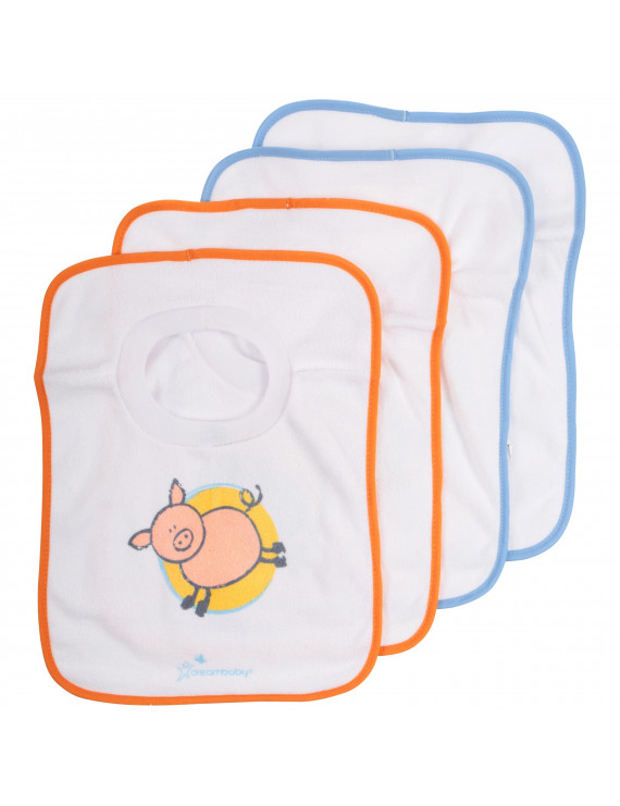 Dreambaby Pull Over Bibs 4 Pack, Farm