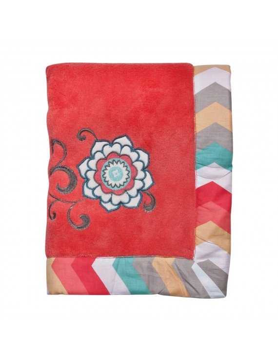 Waverly Pom Pom Play Framed Coral Fleece Baby Blanket