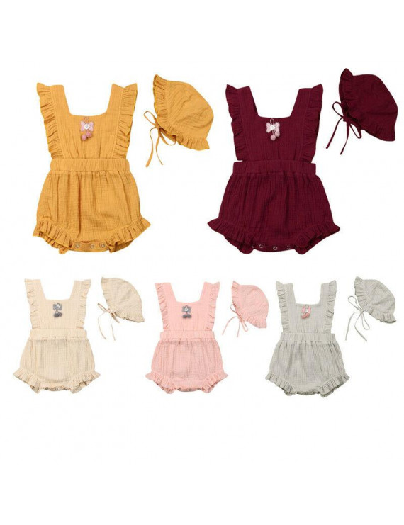 Pudcoco 0-24M Girl Romper Sleeveless Floral Ruffle One-Piece With Hat Outfits