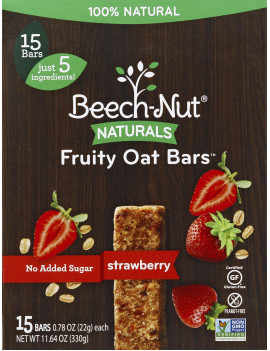 (6 Boxes) Beech-Nut® Naturals Fruity Oat Bars, Stage 4, Strawberry, 15 bars, 3.9 oz