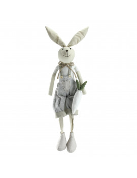 "19.5"" Gray and White Sitting Easter Bunny Rabbit Boy Spring Figure"
