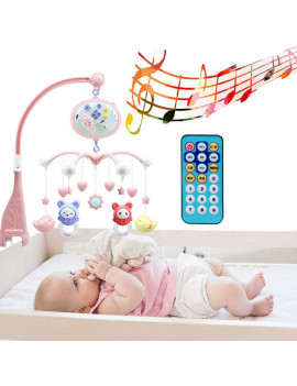 Baby Musical Crib Mobile with Timing Function Projector and Lights,Hanging Rotating Rattles and Remote Control Music Box,Toy for Newborn 0-24 Months