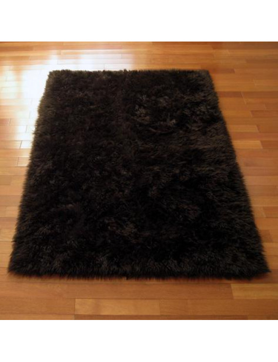 Faux Fur Area Rug Luxuriously Soft and Eco Friendly Rectangle 3' X 5' Brown Made in France