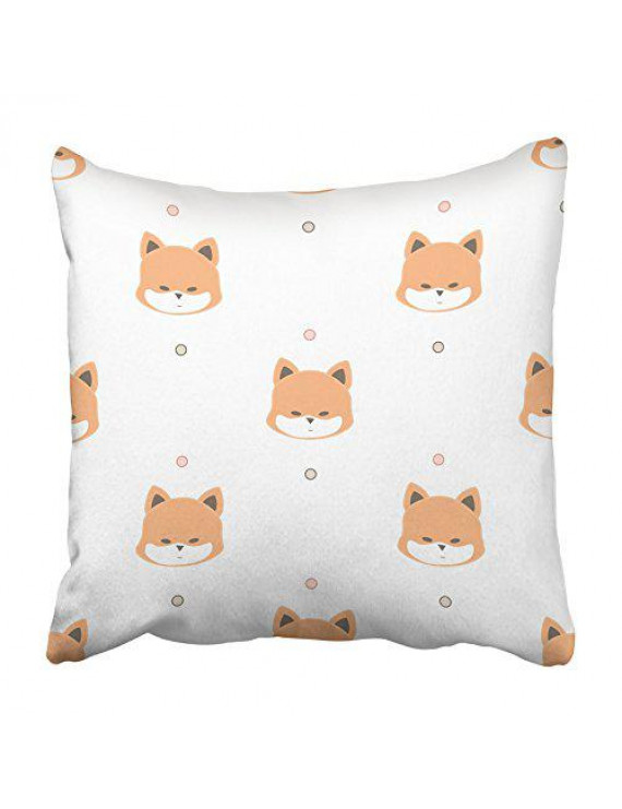 CMFUN Orange Cute of Cartoon Fox on White Animal Baby Children Color Dot Drawn Face Pillowcase Cushion Cover 18x18 inch