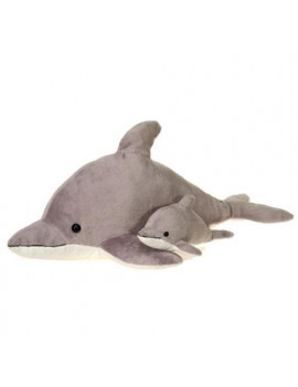 """Fiesta Toys Gray Dolphin with Baby 22""""  """
