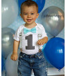 Boys First Birthday Outfit by Noah's Boytique  Cake Smash Outfit Grey Chevron Aqua Bow Grey Number One 6-12 Months