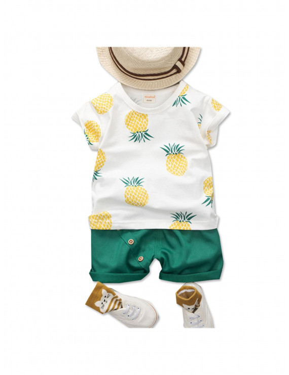 Fashionable Pineapple Print Short-sleeve Tee and Shorts Set for Baby and Toddler Boys