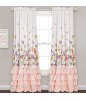 "Lush Decor Flutter Butterfly Polyester Window Curtain in Pink, 84"" in L, Set of 2"