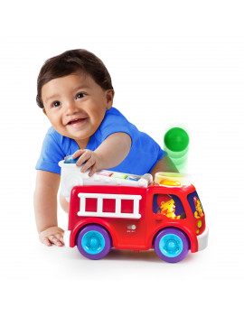 Bright Starts Roll & Pop Fire Truck Toy Ball Popper Activity Toy, Ages 6 months +
