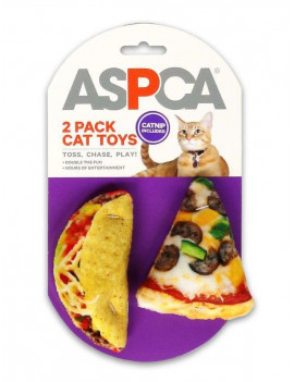 ASPCA Pizza & Taco 2-Pack Plush Cat Toys w/ Catnip Included