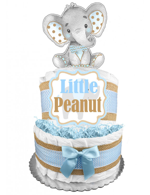 Elephant 2-Tier Diaper Cake for a Boy - Baby Shower Gift - Centerpiece - Blue and Burlap
