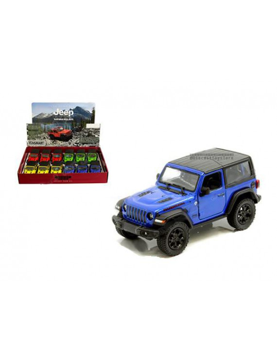 KINSMART 1:34 DISPLAY - 2018 JEEP WRANGLER WITH HARD TOP (RED,BLUE,YELLOW,GREEN) SET OF 4 KT5412DB