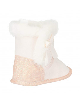 bebe Infant Girls Winter Boots Size 1 with Glitter Heart and Cuffs Shoes Light Pink