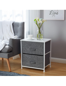 2 Drawer Vertical Storage Dresser Tower - White Wood Top - Sturdy Metal Frame - Linen Fabric Storage Bins with Pull Tabs - Organizer Unit for Hallway, Entryway, Closets and Bedroom - Gray