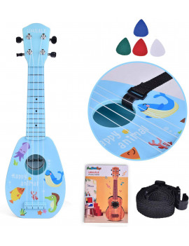 17 Inch Ukelele for Kids, Musical Instroments for Kids with Strap, Picks and Tutorial, Learning Educational Toys Gifts for Boys & Girls (Blue) F-478